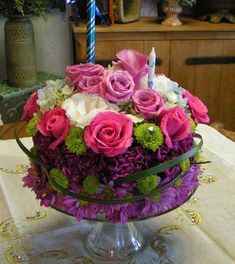 This cake is made of fresh flower from Joy's Florist in Fort Lauderdale