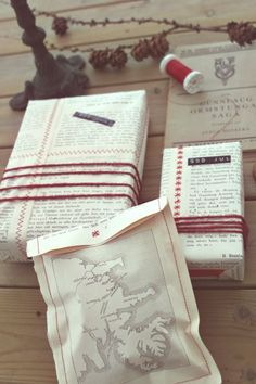 """Sew pages of a book together to wrap a gift."" no. do not do that thing."