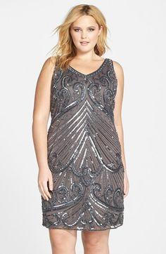 Plus Size Womens Pisarro Nights Embellished Sleeveless Sheath Dress $130.80 AT vintagedancer.com
