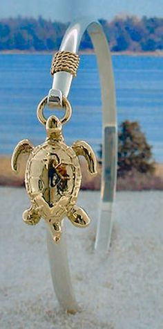 !4K Gold Sea Turtle with 14K Gold Rope on Sterling Silver Bracelet