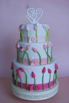 wedding cake It is a cake! Heriott Grace Wedding cake with tulips Music Cake Gorgeous Cakes, Pretty Cakes, Cute Cakes, Amazing Cakes, Tulip Cake, Floral Cake, Fondant Cakes, Cupcake Cakes, Occasion Cakes