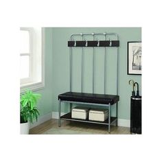 #Entry hall metal #storage bench seat coat stand 60 inch home #furniture silver n,  View more on the LINK: http://www.zeppy.io/product/gb/2/172056880262/