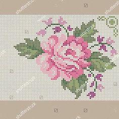 Cross Stitch Rose, Cross Stitch Borders, Cross Stitch Flowers, Cross Stitch Designs, Cross Stitch Embroidery, Hand Embroidery, Cross Stitch Patterns, Tapestry Crochet, Yarn Crafts