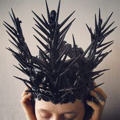 Agnieszka Osipa / wasteland crown / all black / dystopian headdress