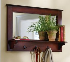 Cortland Hallway/Mudroom Entry Wall Shelf w/ Hooks