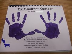 "Handprint calendar. Such a cute idea!!! Each month has a different ""handprint art"" pertaining to the month. Merry Christmas to the grandparents!"
