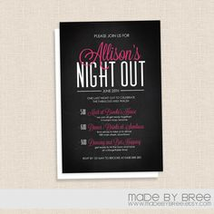 Modern Chalkboard - Hot Pink and Black - Bachelorette Party Invitation by MadeByBree, $20.00