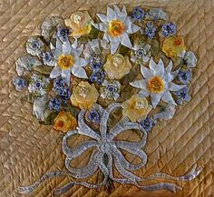 close up, Une Belle Amitié (A Beautiful Friendship) by Cynthia Williford. A re-creation of a Baltimore-album style quilt attributed to Mary Simon, in the Metropolitan Museum of Art. Hand appliqued and quilted.