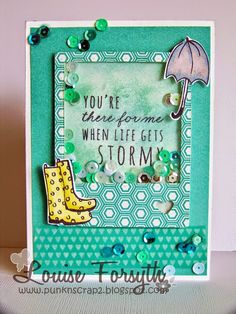 @louisenz created this super fun shaker card using @CTMH product, Rainy Day stamp set for the Paper Crafter Anonymous Blog #iheartstmaping