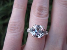 2.63 K color, VS1 clarity cushion engagement ring. Diamond from Good Old Gold, setting by Leon Mege. Love this unique look!