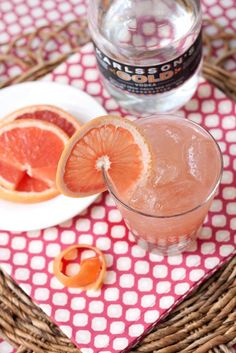 The Grapefruit Crush:  1 1/2 grapefruits, juiced  1.5 oz vodka  1 oz orange liqueur  splash of lemon-lime soda  ice  Pour all ingredients into cocktail mixer and shake. Strain into a cocktail glass filled with ice. Garnish with grapefruit peel or slice.