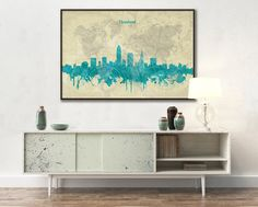 CLEVELAND skyline Cleveland Canvas Print Travel Art от ArchTravel