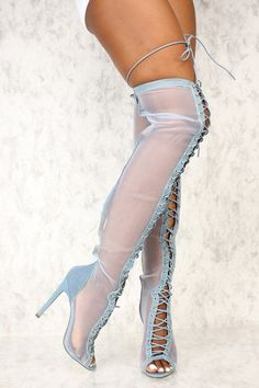 Sexy Denim Sheer Open Toe Lace Up Thigh High Heel Boots #highheelbootsoutfit