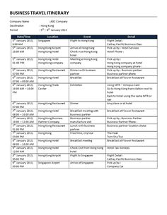 Business Itinerary Template   How To Plan A Business Trip Efficiently? It  All Starts With