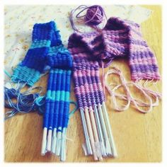 "Straw weaving. This is fun. I did this with all my fifth grade classes this past school year. They loved it! Sucking the yarn through the straws got a lot of giggles! :) Easy project! ""Over, under, over, under...go around & do the same thing again on the other side!"" Tip: Don't get the straws that bend at the top!"