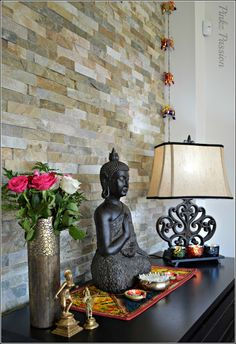 Indian inspired console table styling for festivals. Create your own Zen space l. - Indian inspired console table styling for festivals. Create your own Zen space like this to bring p - Diwali Inspiration, Yoga Inspiration, Indian Inspired Decor, Buddha Home Decor, Buddha Statue Home, Console Table Styling, Deco Zen, Zen Space, Diwali Decorations