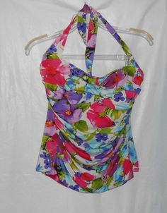 SUDDENLY SLIM by CATALINA Women Swimwear Tankini Top Size L Large(12/14) Floral #Catalina #TankiniTop...ONLY ONE DAY LEFT BEFORE AUCTION ENDS!  http://stores.ebay.com/vickysclothingandmore