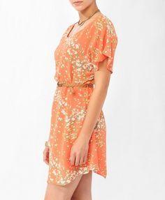 Ditsy Floral Flutter Dress w/ Belt | FOREVER21