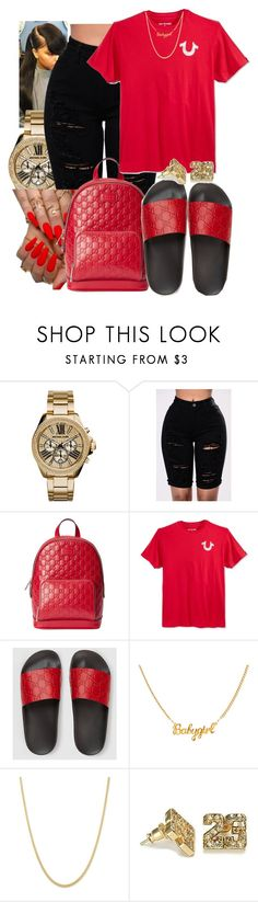 """"""""""" by queenarmanii ❤ liked on Polyvore featuring Michael Kors, Gucci and True Religion"""