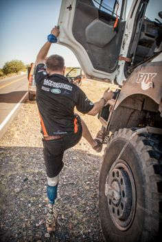 Daniel 'Baz' Whittingham who lost his leg is an IED blast in Afghanistan is a co-driver in the T4 truck competing for R2R in Dakar 2014