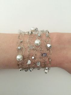 """7"""" Handmade Silver Wire Pearl Bold Bracelet Ladies Womens Girl Jewelry Gift For Her"""