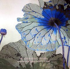 Blue lotus, silk hand embroidery, all hand embroidered with fine silk threads on silk by embroidery artists in Su Embroidery Studio Suzhou China