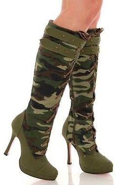 Sexy Camo Canvas Lace Up Knee High Heeled Army Boots - High Heels Fashion Knee High Heels, High Heel Boots, Heeled Boots, Camo High Heels, Pretty Shoes, Cute Shoes, Me Too Shoes, Camo Boots, Lace Up Block Heel