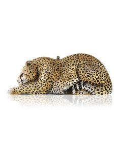 Crystal-Embellished Wildcat Clutch Bag, Ceylon/Multi  by Judith Leiber Couture at Neiman Marcus.