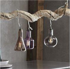 Laboratory glass pendant lights on wood