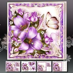 Purple Lilies with Roses Mini Kit on Craftsuprint designed by Atlic Snezana - Purple Lilies with Roses Mini Kit: 4 sheets for print with decoupage for 3D effect plus few sentiment tags (for your own personal text) - Now available for download!
