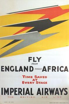 England Africa Imperial Airways, 1932 - original vintage travel advertising poster featuring the Art Deco Speedbird logo by Theyre Lee-Elliott (David Lee Theyre Elliott) listed on AntikBar.co.uk