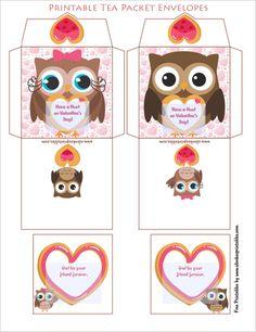 Printable owl tea packet envelopes