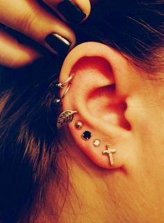 This ear has all different peircing but i find it so cute