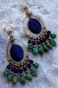 gemstone jewelry Midnight Sea Lapis and Turquoise Earrings Love this combination jewelry Wire Jewelry, Boho Jewelry, Jewelry Crafts, Gemstone Jewelry, Beaded Jewelry, Jewelery, Jewelry Design, Fashion Jewelry, Jewelry Ideas