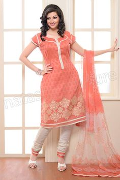 Natasha Couture Peach and White Cotton Patch Worked Salwar Kameez - StyleHoster | StyleHoster