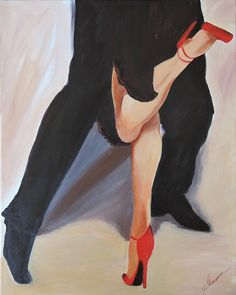 Tango canvas art, tango dancers legs painting with red shoes, Modern art wall decor perfect wedding gift
