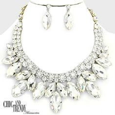 HIGH END CHUNKY CLEAR GLASS CRYSTAL PROM WEDDING FORMAL NECKLACE JEWELRY SET  #Unbranded