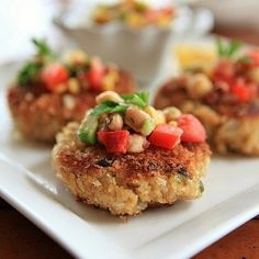 Southern #crab cakes with panko bread crumbs and corn-avocado-pea salsa.