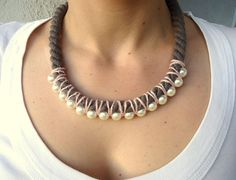 TaupePeachCream Rope Bib necklace/knotted by CreationsByAlina, $29.00