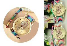 This is a beautiful dream catcher watch style you will absolutely love! Choose from two beautiful colour options, with woven gold chain bands and an additional friendship band. Beautiful Dream Catchers, Crystal Jewelry, Gold Chains, Bracelet Watch, Fashion Accessories, Jewels, Watches, Crystals, Bracelets
