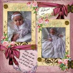 Sweet Baby's Page...with framed photos & ribbon.