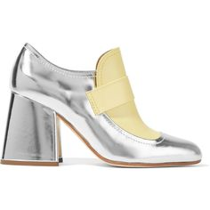 Marni Metallic leather two-tone pumps ($635) ❤ liked on Polyvore featuring shoes, pumps, heels, zapatos mujer, slip on loafers, high heel pumps, chunky heel shoes, high heel shoes and chunky heel pumps