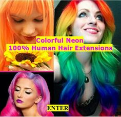 Colorful Neon , 100% Human Hair Extensions.  www.hairfauxyou.com