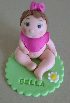 Baby girl fondant cake topper