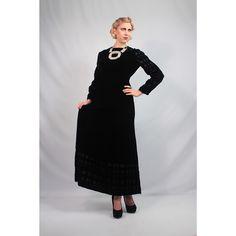 Black velvet Givenchy evening gown. Late 1960's elegance.