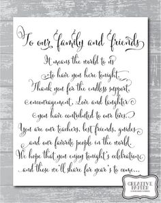 Poem Thanking Wedding Party