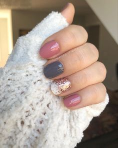 I'm digging this mixed mani! Berlin It To Win It (doubled) Swiss And Tell No Way San Jose (doubled) Coming Up Rose Gold Accent Nail Designs, Gel Nail Designs, Nail Color Combos, Nail Colors, French Nails, Cute Nails, Pretty Nails, Hair And Nails, My Nails