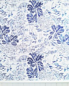painted palm wallpaper in downtown nantucket.