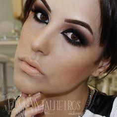 Olho Preto Make Me Up, How To Make, Skin Makeup, Hair, Beauty, Jewelry, Style, Black, Makeup Inspiration