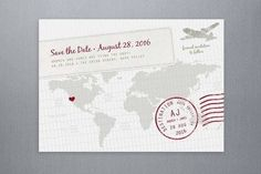 world travel save the date postcard